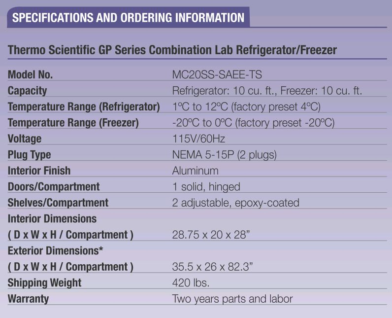 Thermo Scientific* GP Series Combination Lab Refrigerators & Freezers from Thermo Fisher Scientific