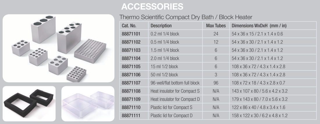 Thermo Scientific* Dry Baths/Block Heaters Accessories from Thermo Fisher Scientific