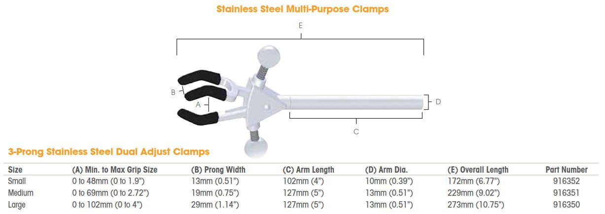 Talboys Multi-Purpose Stainless Steel 3-Prong Clamps from Troemner, LLC.
